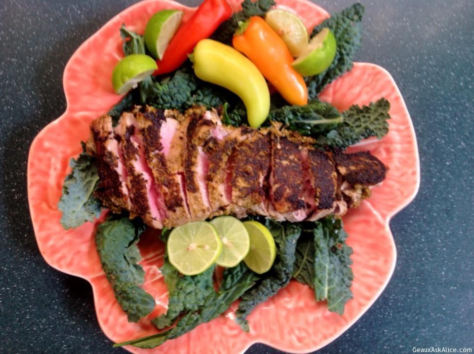 Lime Pesto Tuna Steaks