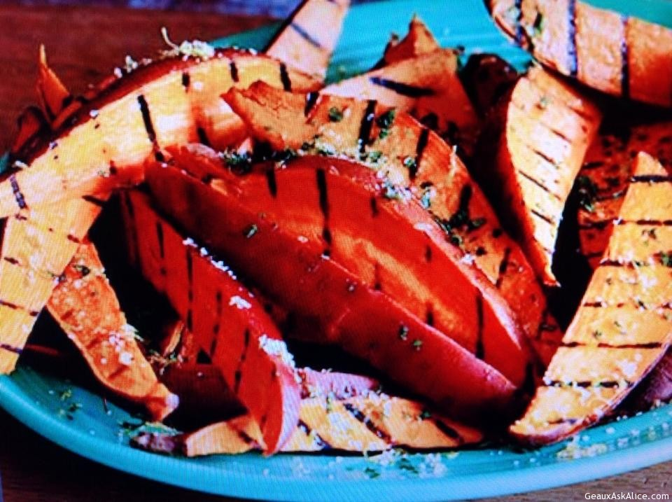 Garlicky Grilled Sweet Potatoes