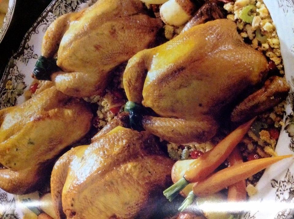 Cranberry-Cornbread Stuffed Cornish Hens