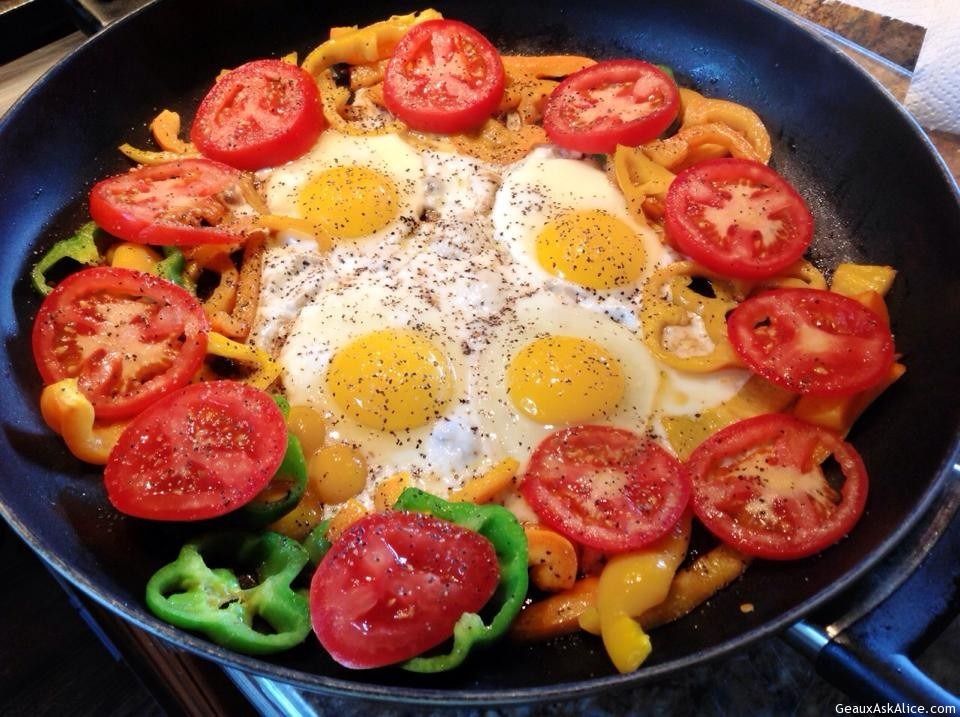 Grammie's Sunny Side- Up Eggs With Tomatoes And Bell Peppers