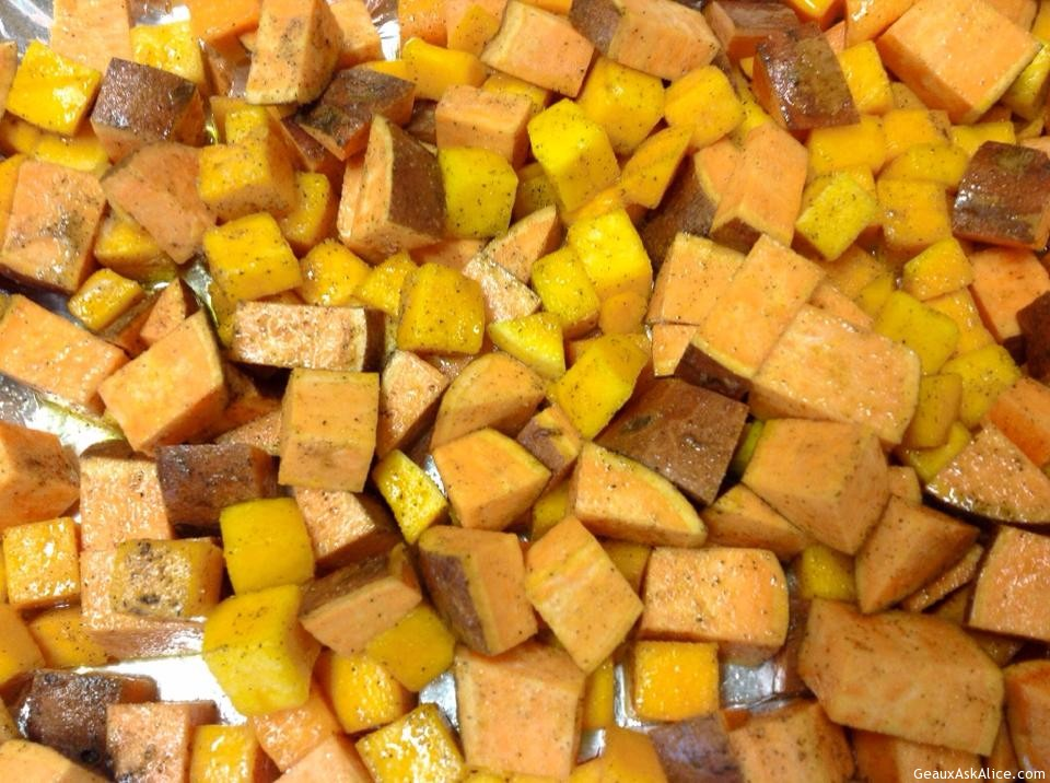 Roasted Diced Yams And Butternut Squash