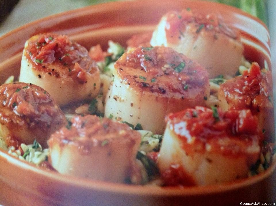 Seared Scallops with Spinach Orzo - Geaux Ask Alice!