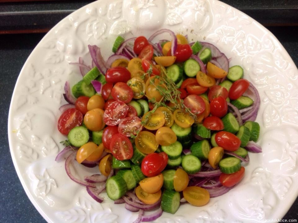 Baby Cucumber And Assorted Grape/Cherry Tomatoes With Zesty Honey Lemon Dressing