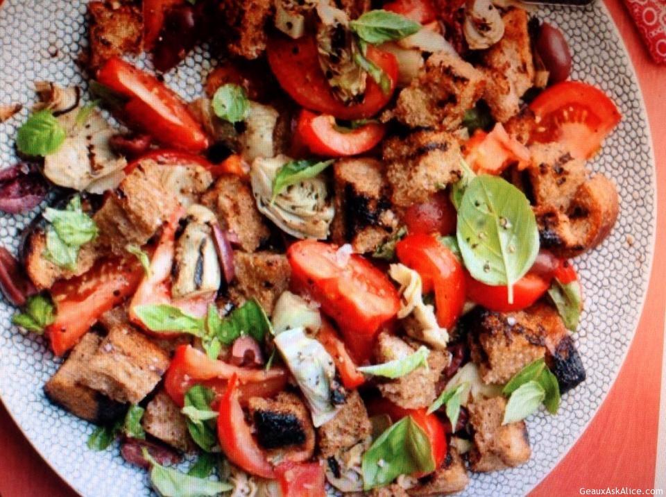 Italian Plum Tomato And Artichoke Panzanella Salad