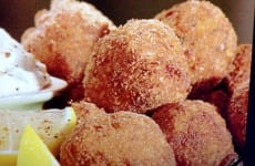 Boudin Balls with Honey Mustard Dipping Sauce