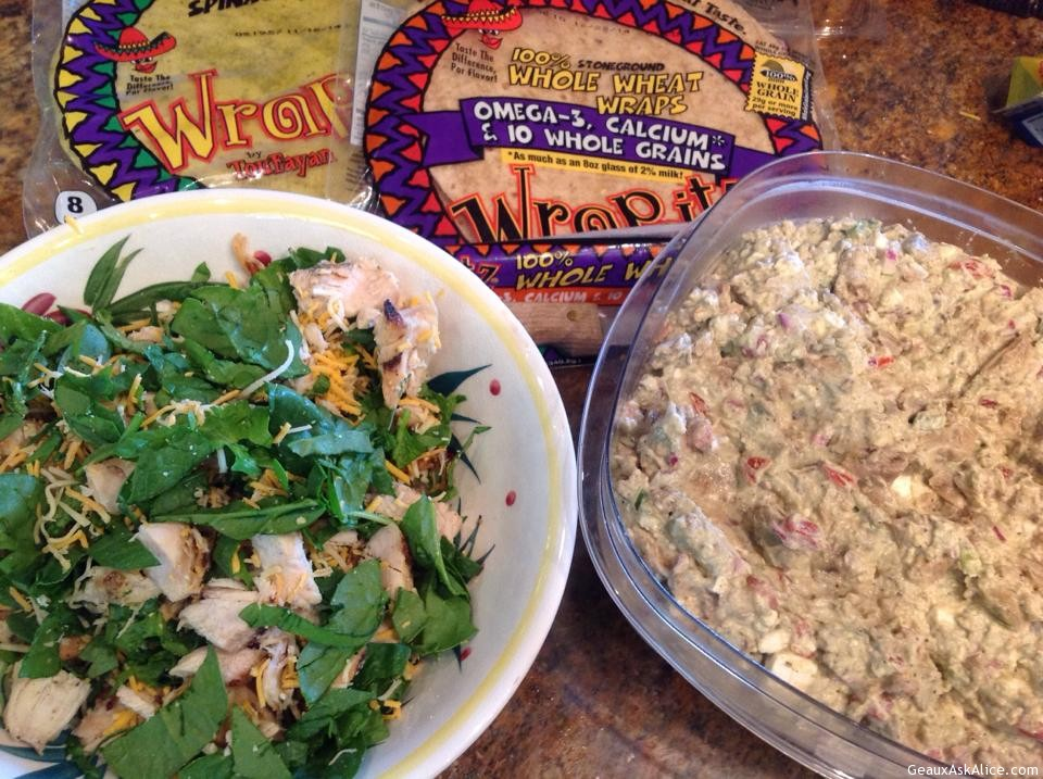 CHICKEN, AVOCADO SPREAD, SPINACH WRAPS AVOCADO SALSA SPREAD/DIP