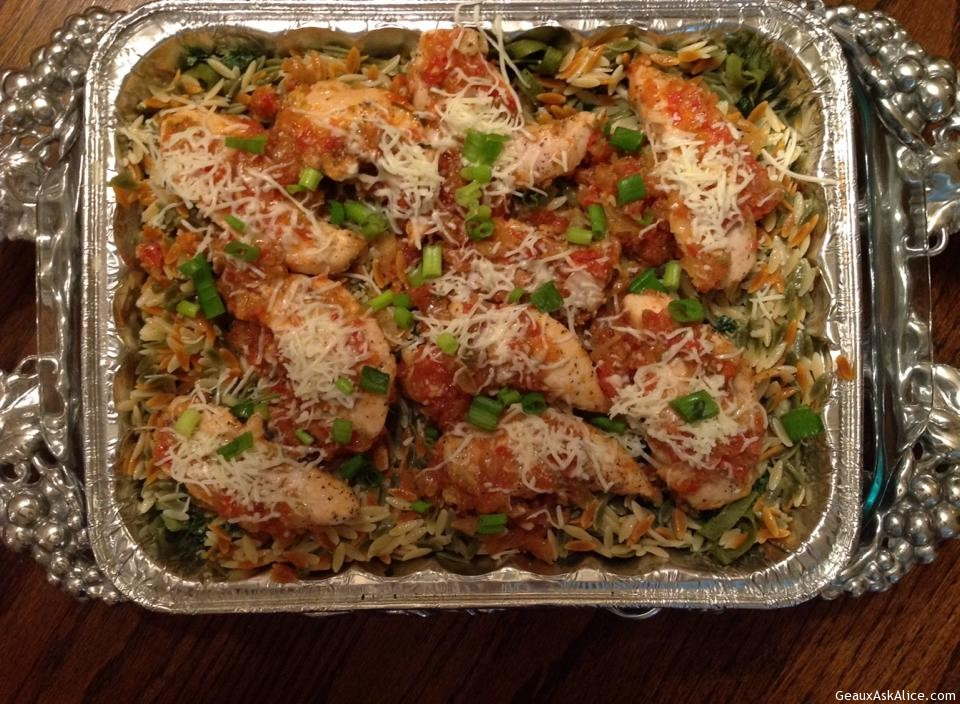 Chicken Tenders With Spinach Fettuccine/Orzo