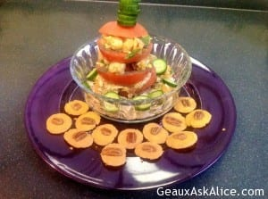 Tomato Stack with Shrimp Salad