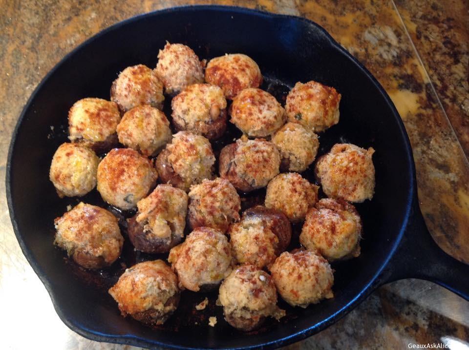 Crawfish Stuffed Mushrooms In A Skillet