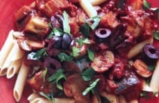 Tomato-Eggplant Sauce over Penne Pasta