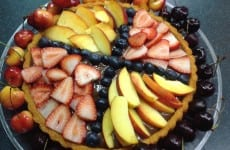 Bavarian Sponge Cake with Fresh Fruit and Chocolate Sauce
