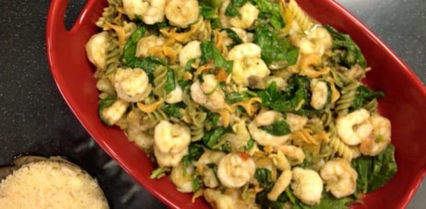 Pesto Coated Shrimp, Pasta with Spinach