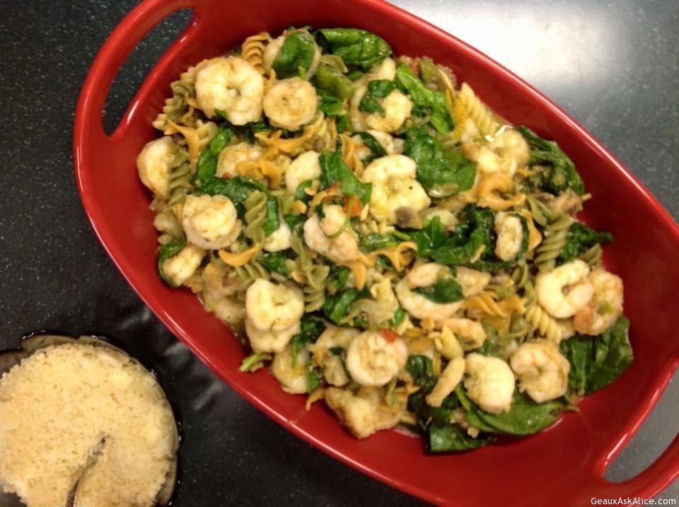 Pesto Coated Shrimp, Pasta With Spinach