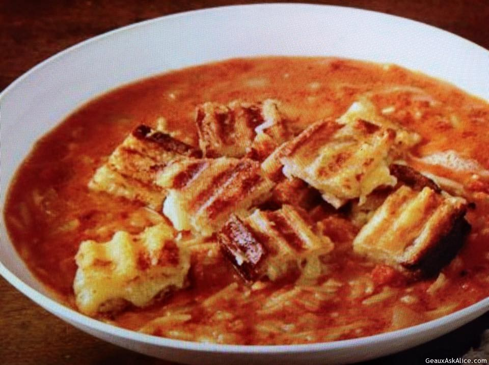 Alice's Roasted Tomato Soup With Grilled Cheese Cubes