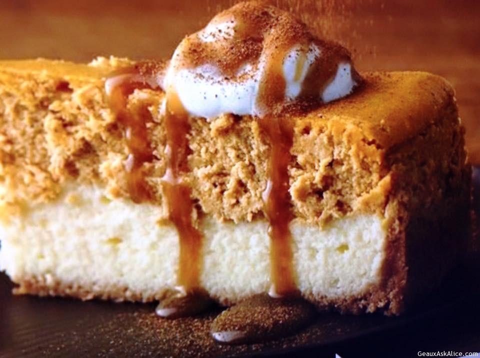 Caramel Drizzle Over Pumpkin Cheesecake