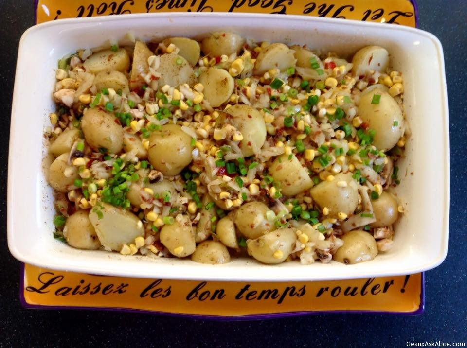 Roasted Baby Yukons With Corn, Mushrooms, Onions And Bacon Bits