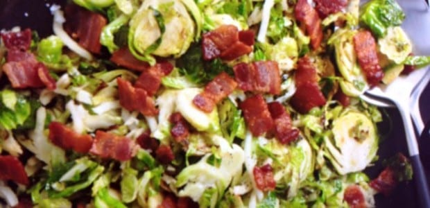 Warm Bacon Brussels Sprout Slaw