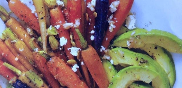 Assorted Roasted Carrots with Avocado and Feta Vinaigrette