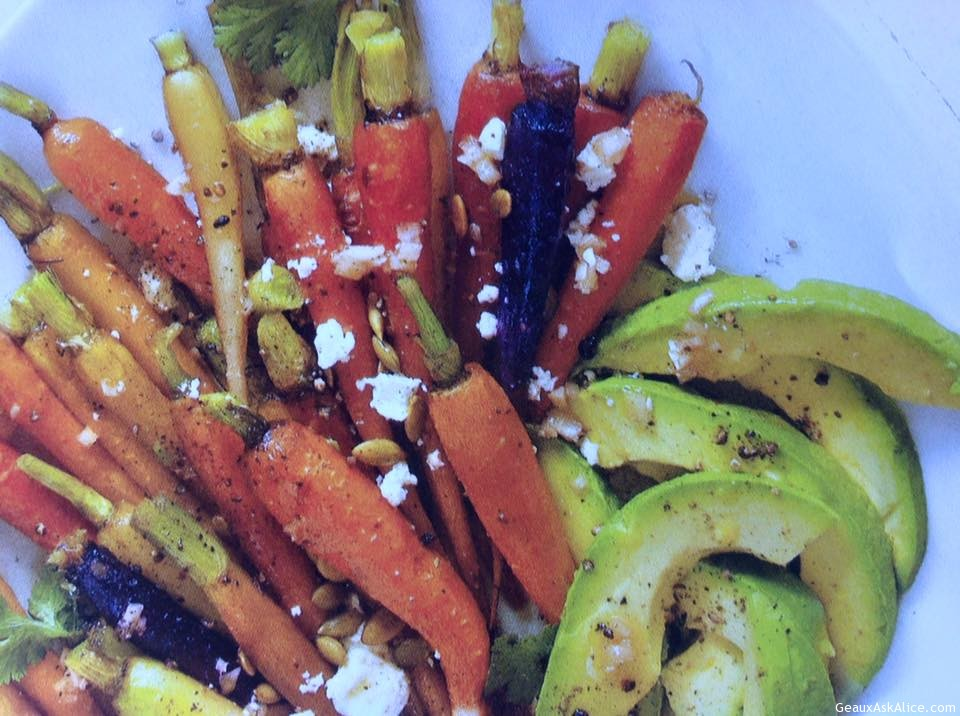 Assorted Roasted Carrots With Avocado And Feta Vinaigrette