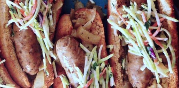Chicken Bratwurst with Broccoli Slaw