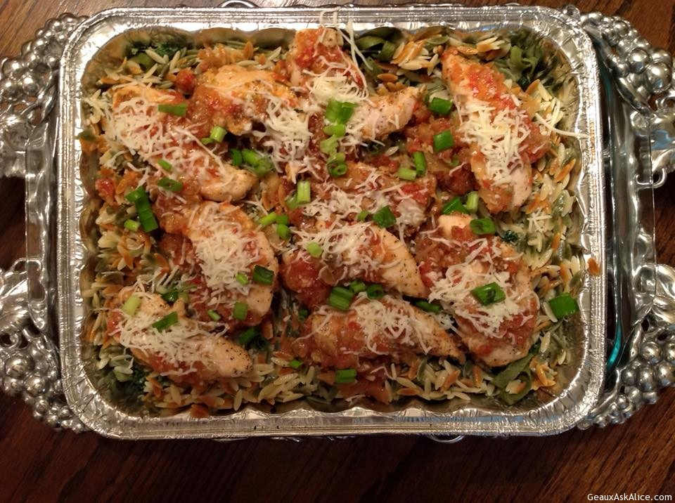 Chicken Tenders With Spinach Fettuccini/Orzo