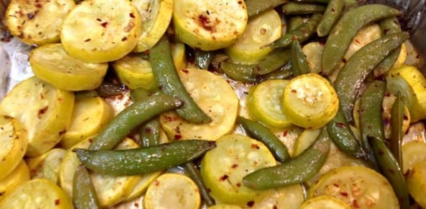 Roasted Yellow Squash with Sugar Snaps