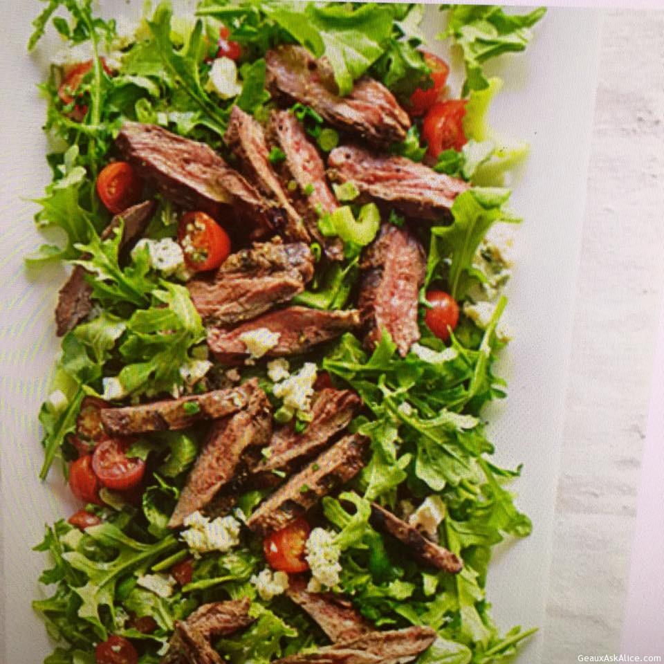 Delicious Tomato, Bleu Cheese Steak Salad