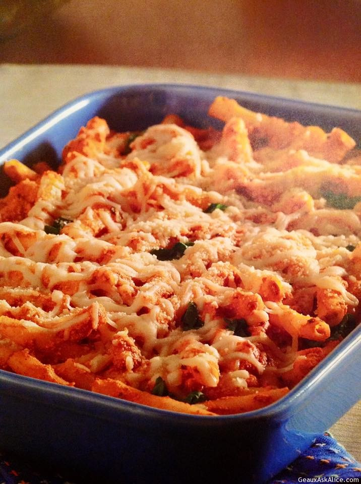 Three Cheese Baked Ziti With Spinach