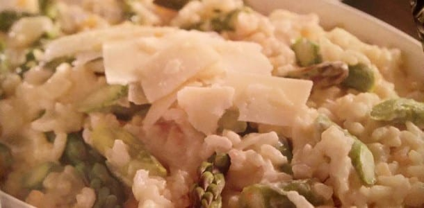 Asparagus Risotto Style Rice with Asiago Cheese