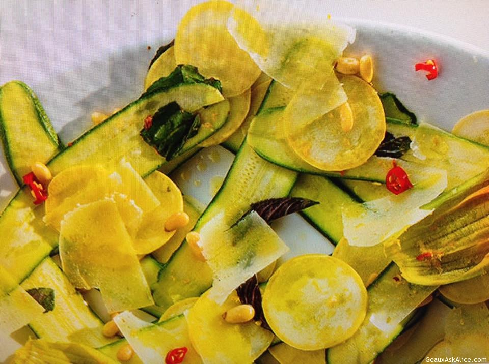 Golden Squash Blooms And Summer Squash Salad