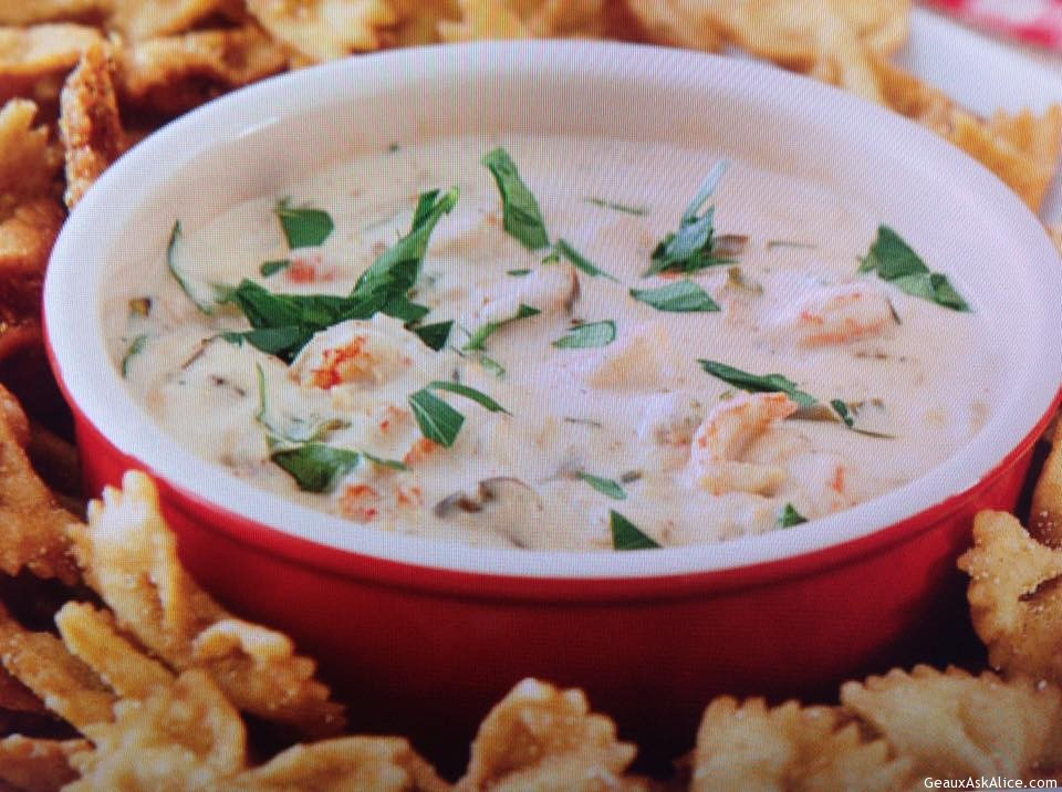 Spicy Crawfish Dip With Bow-Tie Pasta For Dipping