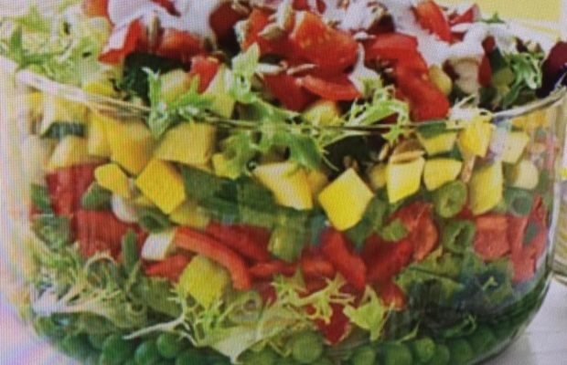 Colorful Layered Salad With Creamy Buttermilk Ranch Dressing