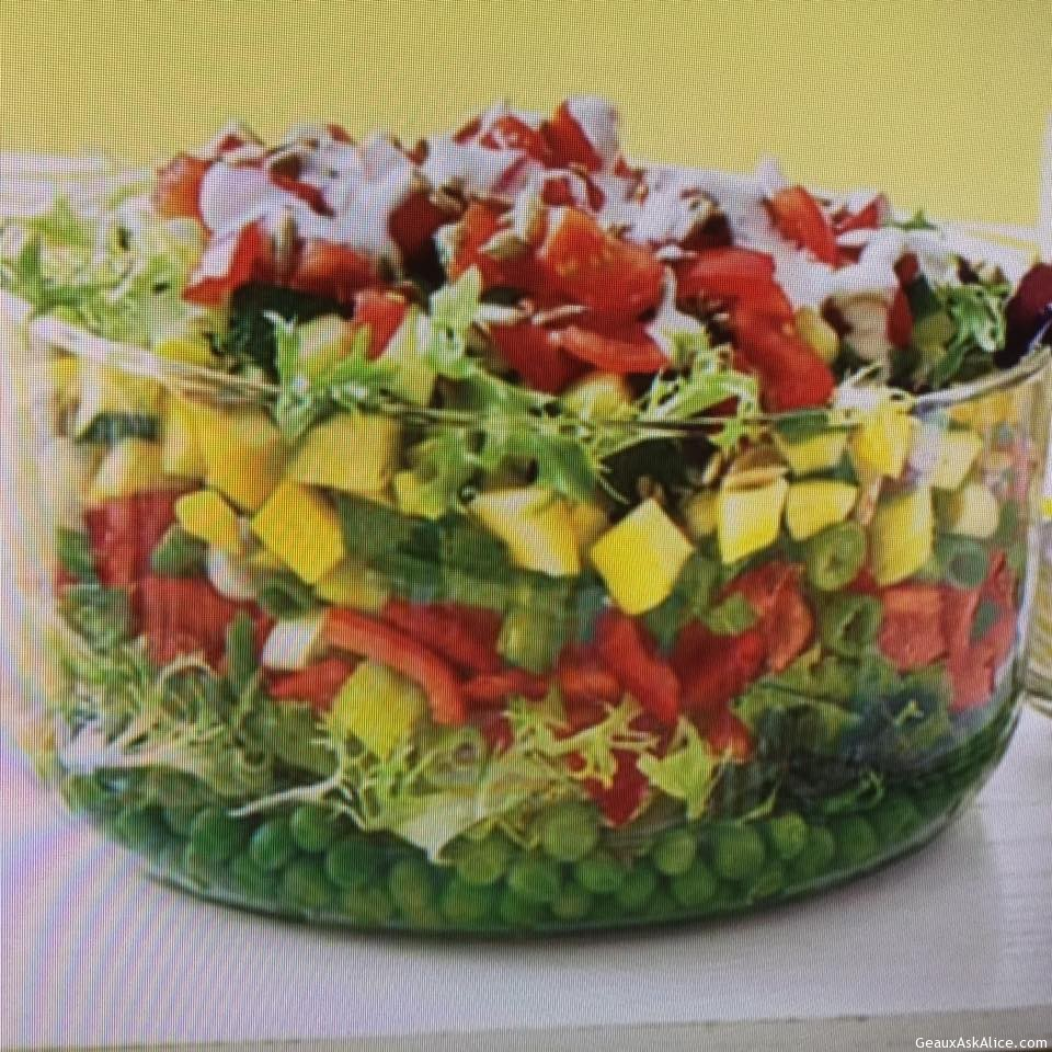 colorful layered salad with creamy buttermilk ranch dressing geaux