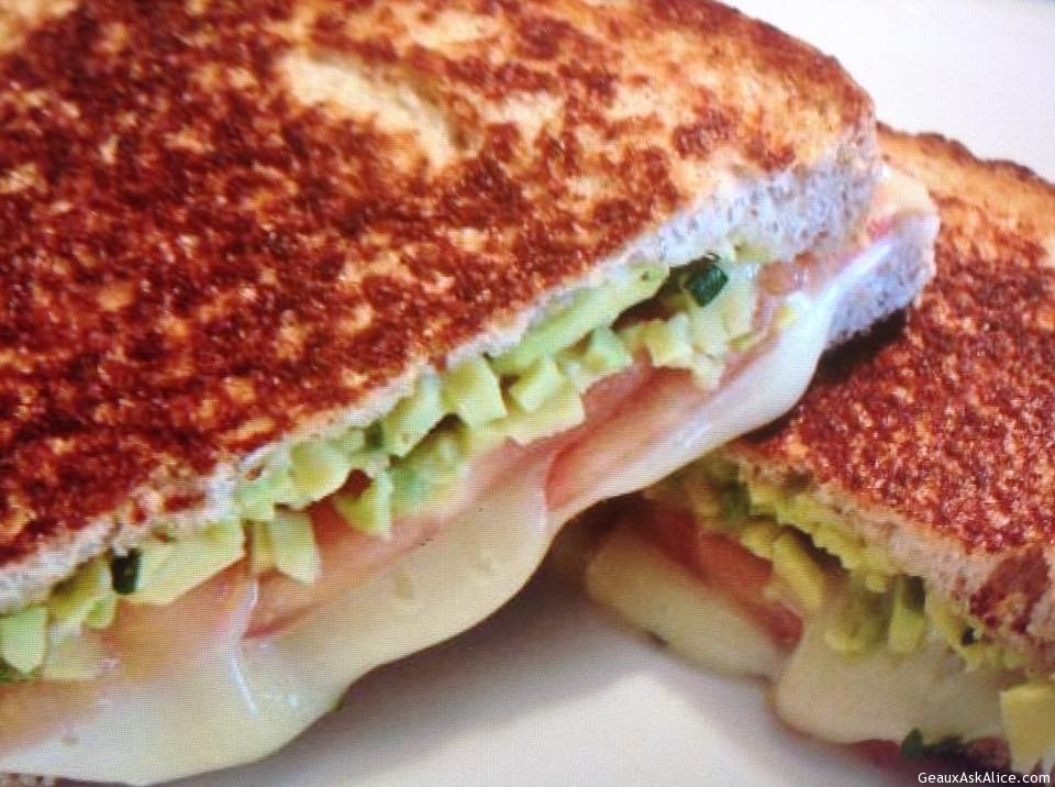 Creole Tomato- Avocado Grilled Cheese Sandwich