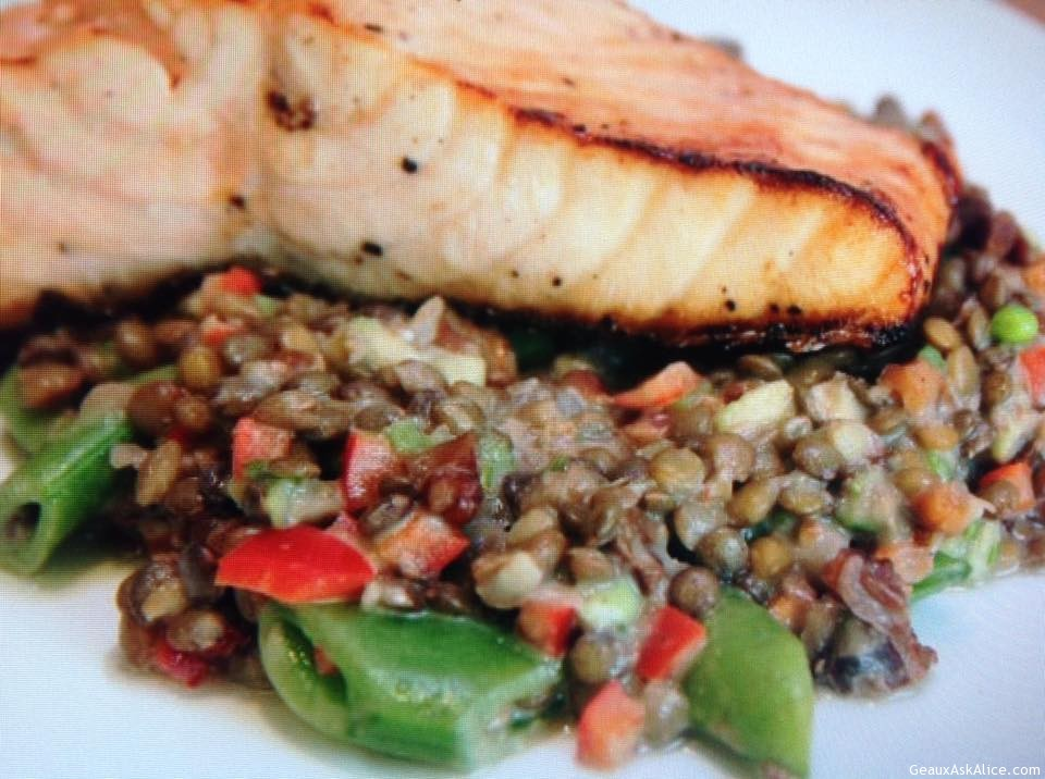 Grilled Salmon Over Lentil Salad