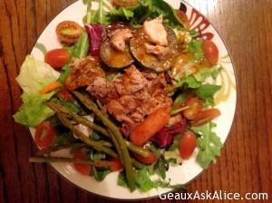 Grilled Salmon over Lentil Salad