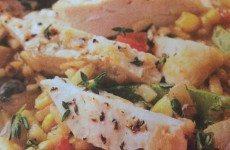 Chicken Strips with Corn-Mushroom Risotto