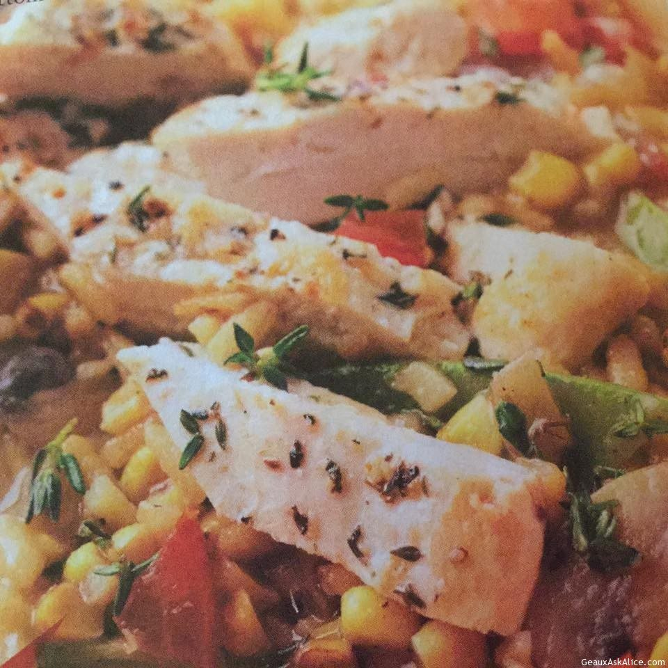 Chicken Strips With Corn-Mushroom Risotto