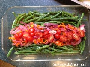 Lemony Herb Vinaigrette Green Beans with Onions, Peppers and Tomatoes