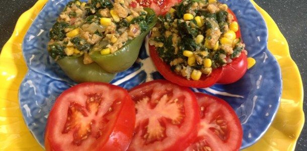 Amazing Spinach, Ground Chicken and Corn Stuffed Peppers