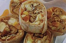 Kiddies' Favorite PB, Banana, Granola Wraps