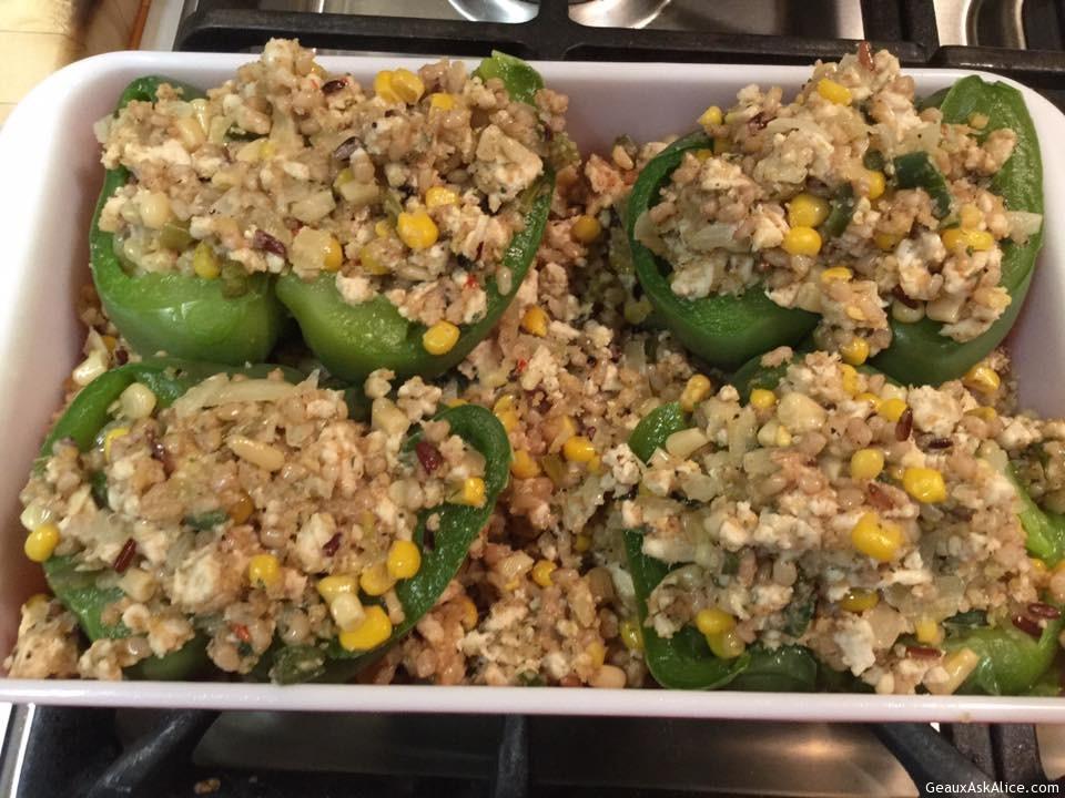 Mexi-Corn, Rice Medley, Ground Turkey Stuffed Peppers