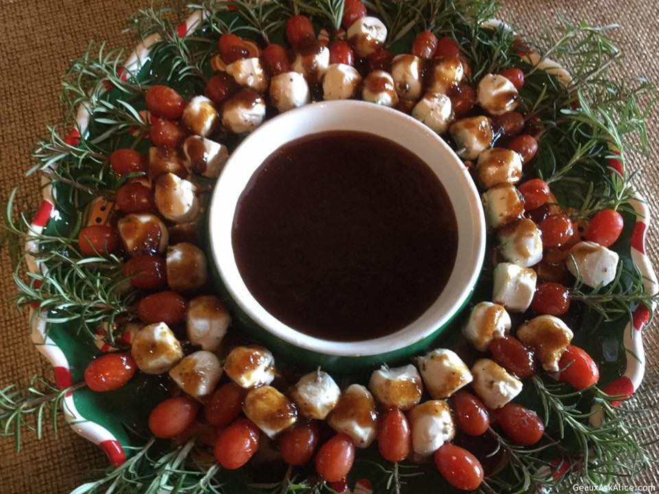 Rosemary Caprese Skewers With Fig/Balsamic Reduction Glaze