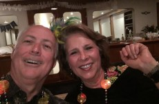Hubby and I enjoying our Mardi Gras celebration on our boat trip
