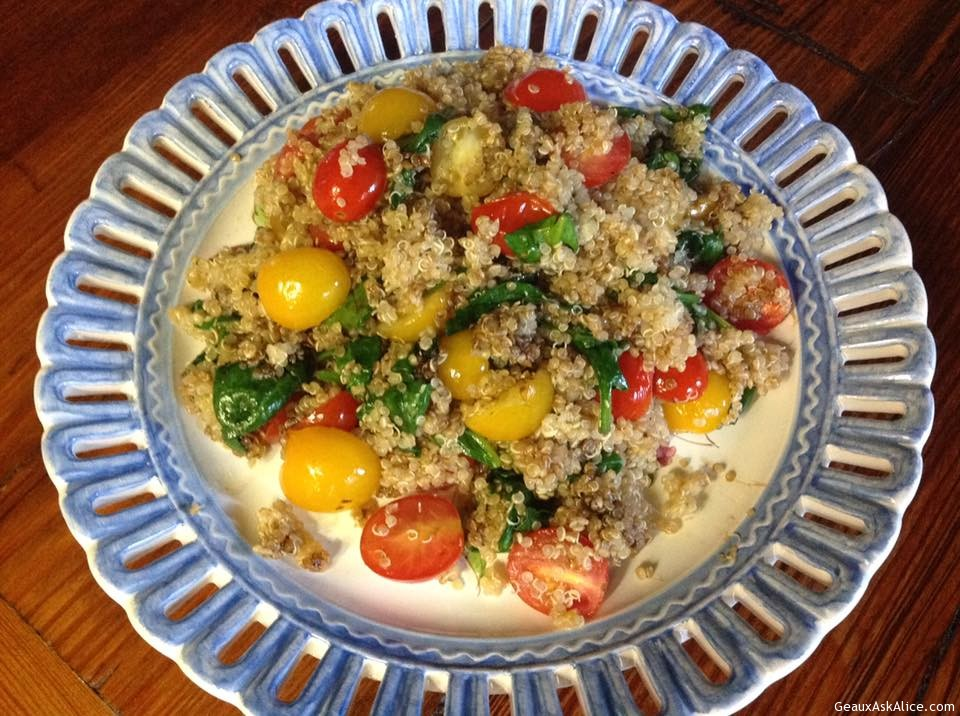 Tangy Quinoa With Spinach And Cherry Tomatoes