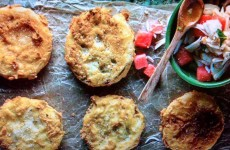 Fried Green Tomatoes with Crabmeat and Watermelon