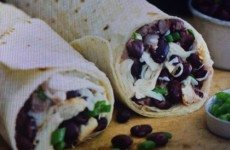 Cheesy Black Bean Salsa and Chicken Burritos