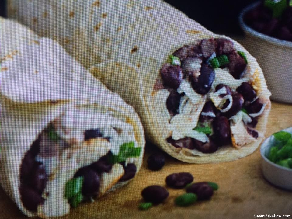 Cheesy Black Bean Salsa And Chicken Burritos