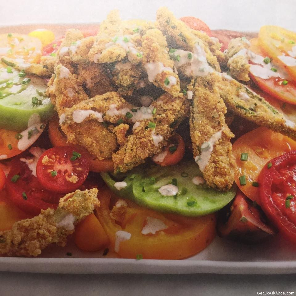 Crispy Fried Okra And Tomato Salad
