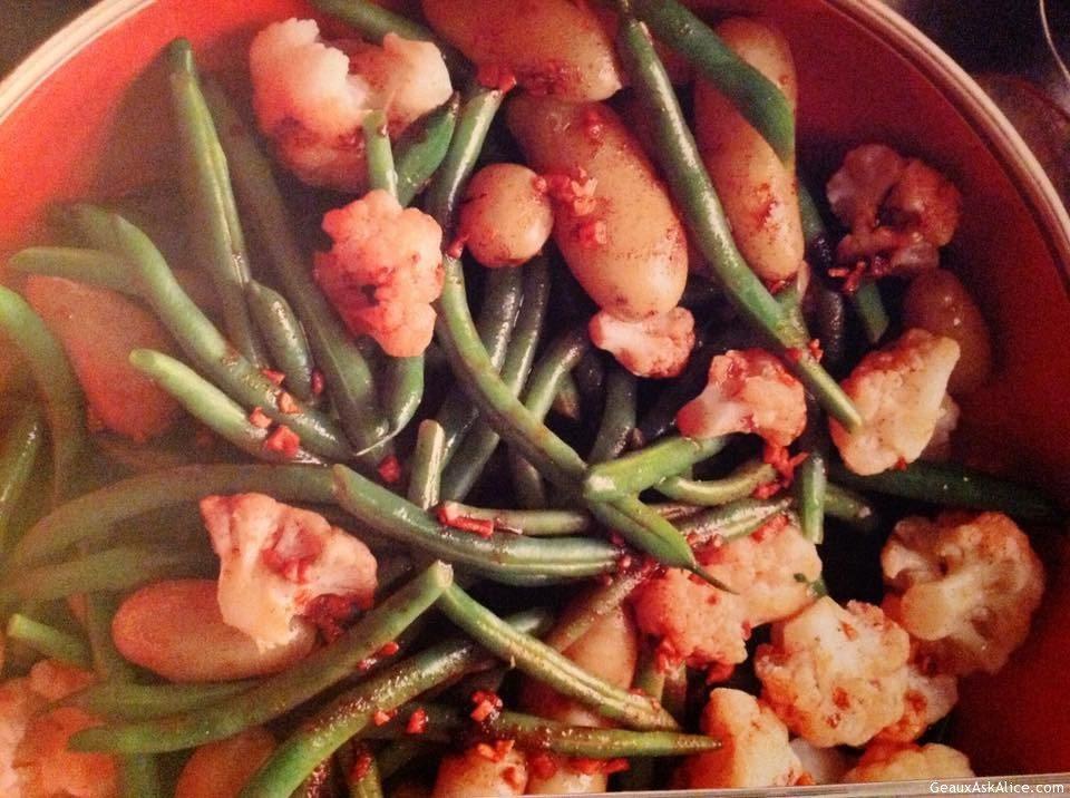Garlicky Potatoes, Green Beans And Cauliflower